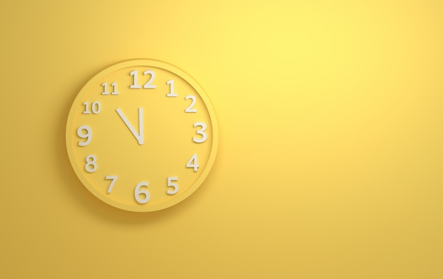 Yellow wall clock with white numbers on background of yellow