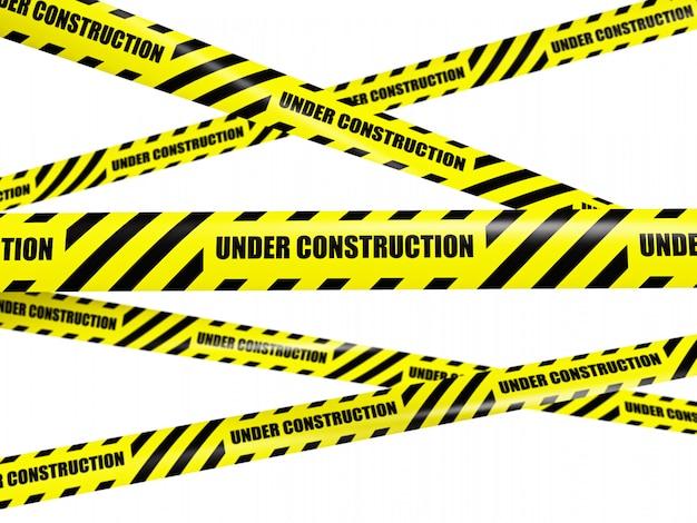 Yellow warning caution ribbon tapes