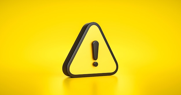 Yellow warning sign symbol or alert safety danger caution illustration icon security message and exclamation triangle information icon on attention traffic background with secure alarm. 3d render.