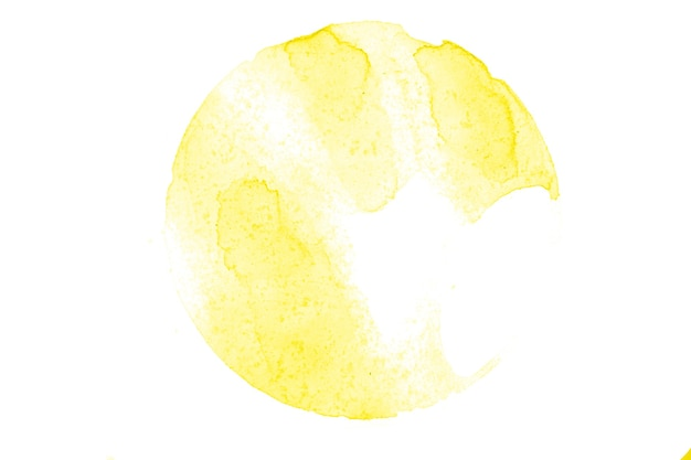 Yellow watercolor circle isolated on white background