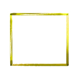 Yellow watercolor grunge frame. hand drawn watercolour vintage abstract yellow textured brush strokes frame isolated on white background