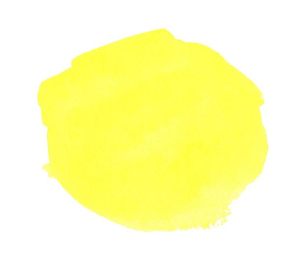 白い紙の粒子のテクスチャに黄色の水彩手描きの汚れ抽象的な水の色芸術的なブラシペイントスプラッシュ背景
