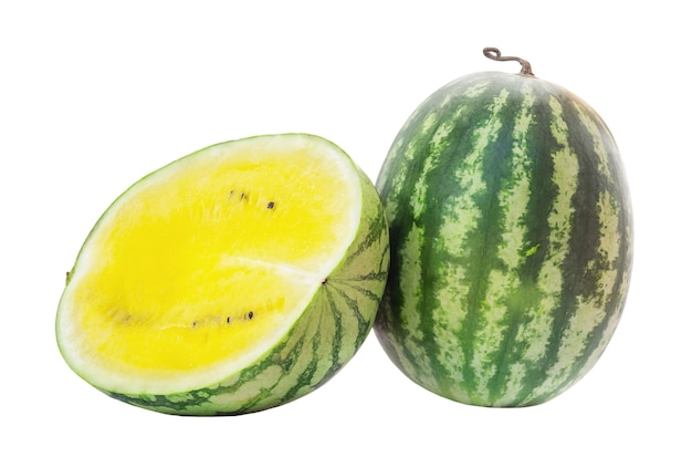 Yellow watermelon and half isolated on white background