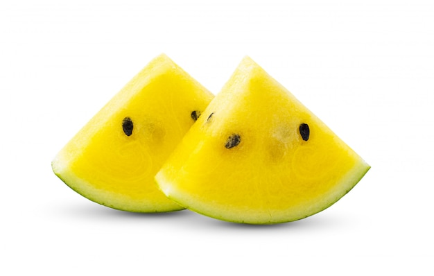 Yellow watermelon on white wall