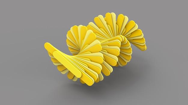 黄色の手を振る形灰色の背景抽象的なイラスト