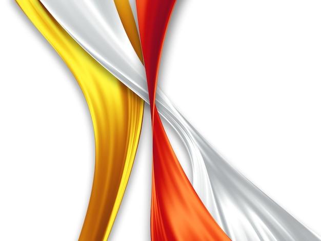 Желтые, белые и красные шелковые ленты на белом фоне