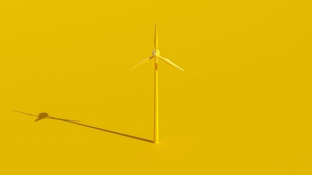 노란색 풍력 터빈 에너지 생산, 3d 렌더링