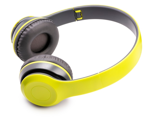 Yellow wireless headphones isolated on white space.