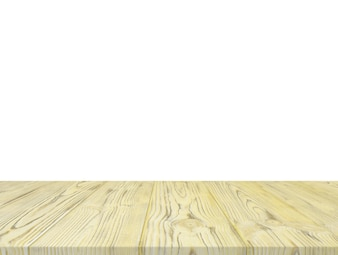 Yellow wooden table top isolated on white backdrop