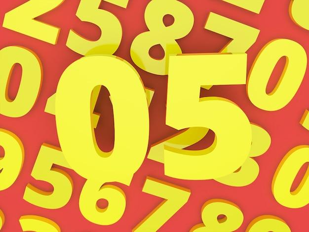 Yellow zero five number 3d with number rendered premium photo