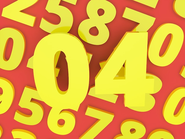 Yellow zero four number 3d with number rendered premium photo