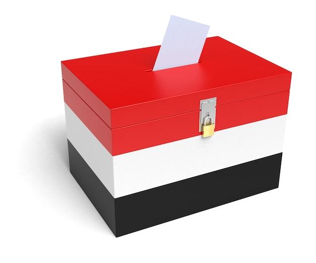 イエメンの国旗投票箱。孤立した白い背景。 3dレンダリング