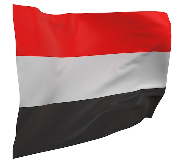 Yemen flag isolated. waving banner. national flag of yemen