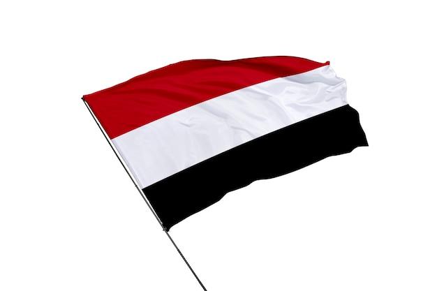 白い背景の上のイエメンの旗