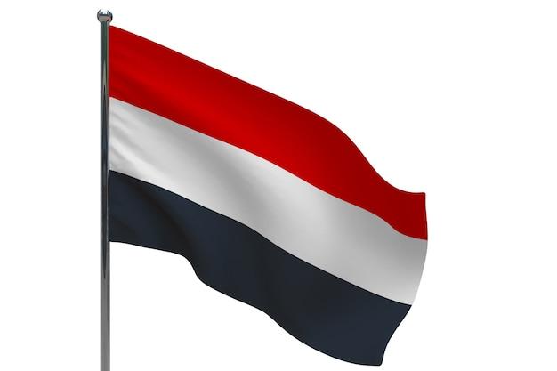 Yemen flag on pole. metal flagpole. national flag of yemen 3d illustration on white