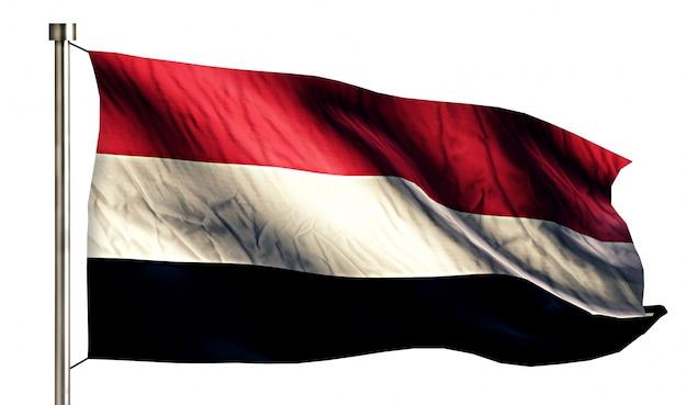 Yemen national flag isolated 3d white background