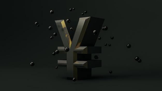 Yen money symbol on black