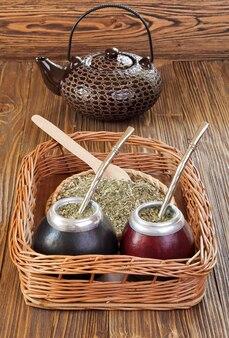 Йерба мате и мате в калебасе на плетеном подносе на деревянном фоне