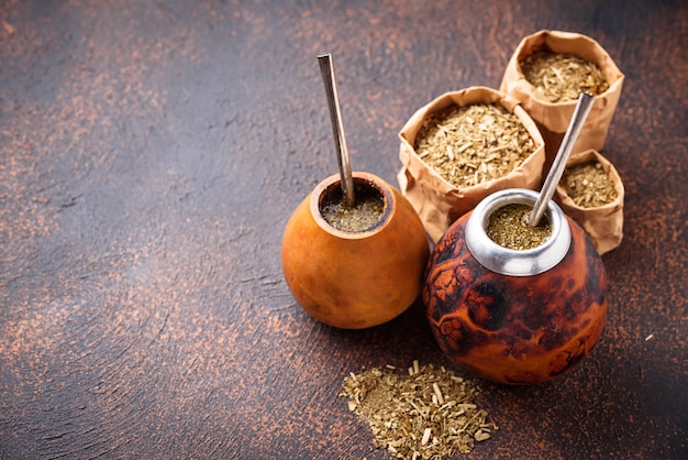 Yerba mate tea with calabash and bombilla.