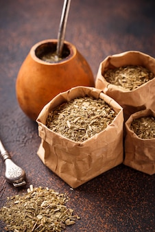 Yerba mate tea with calabash and bombilla