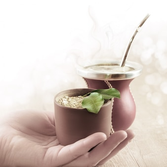 Yerba mate in a traditional calabash gourd,