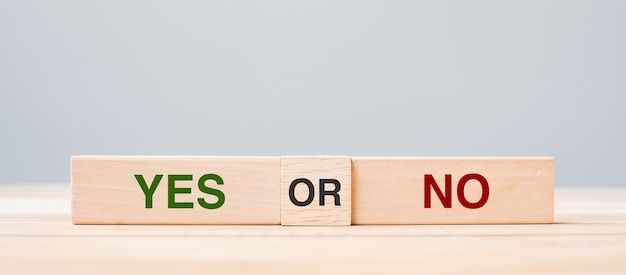 Yes or no block. answer, question and decision concept