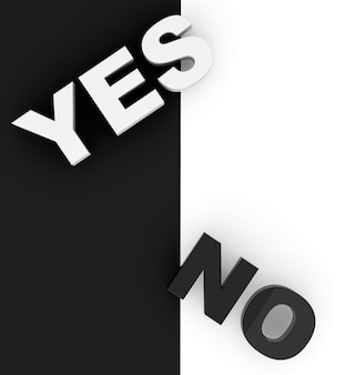 Yes and no sign on a white and black background