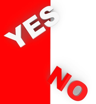 Yes and no sign on a white and red background