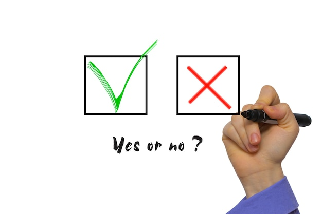 Yes no tickbox with green red tick. hand holding marker isolated on white boards