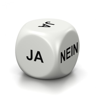 Yes or no white dice, german language