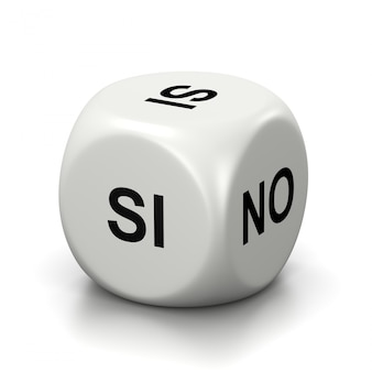 Yes or no white dice, spanish and italian language
