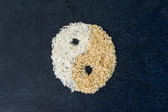 Yin and yang symbol from rice grains