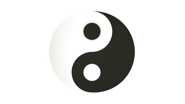 Символ инь и ян, изолированные на белом фоне. 3d рендеринг