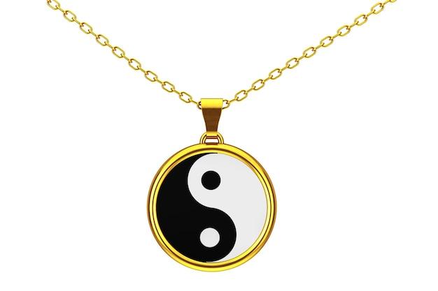 흰색 바탕에 조화와 균형 황금 쿨롱의 음과 양 상징. 3d 렌더링.