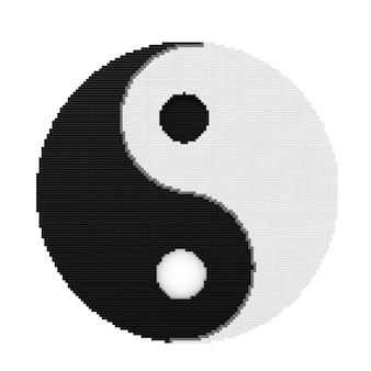 흰색 배경에 픽셀 아트 스타일의 조화와 균형의 음과 양 상징. 3d 렌더링.