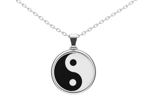 흰색 바탕에 조화와 균형 실버 쿨롱의 음과 양 상징. 3d 렌더링.