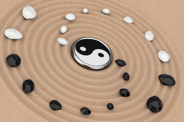선 명상 모래 정원 극단적인 근접 촬영 위에 흰색과 검은색 돌로 잉 양 기호. 3d 렌더링
