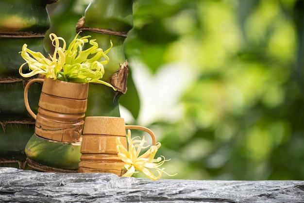 Ylang-ylang or cananga odorata flowers on nature surface.