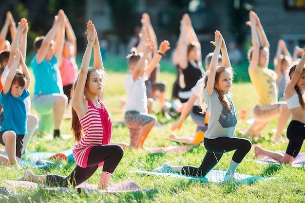 Yoga classes outside on the open air.