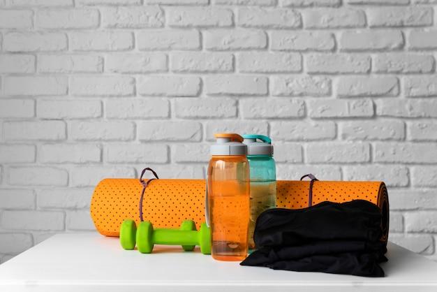 Yoga equipment arrangement on table