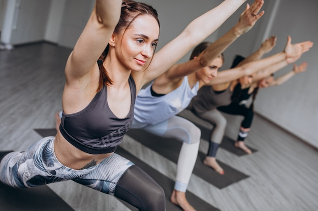 Yoga group classes inside the gym