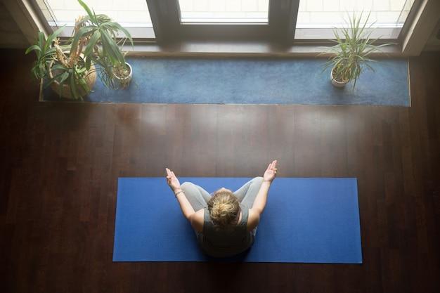 Yoga at home: meditation concept