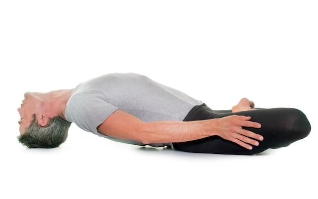Yoga man isolated