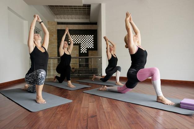 Yoga practice indoors