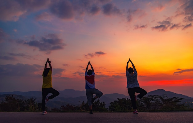 Yoga silhouette. fitness and healthy lifestyle