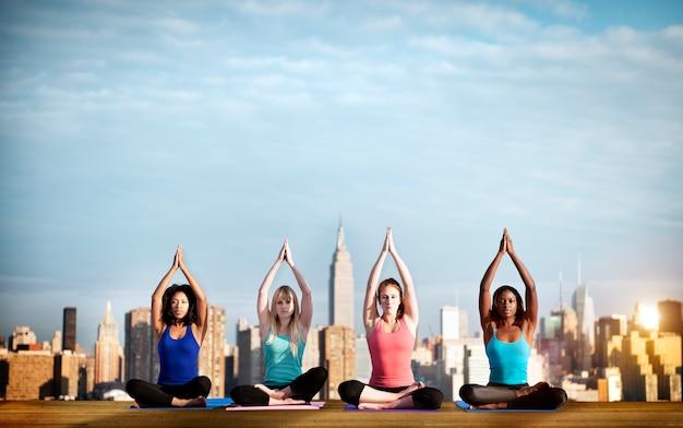 Yoga spiritual cityscape concentration peaceful concept