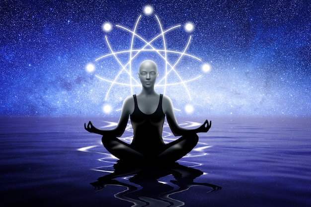 Yoga woman with the sign of the atom