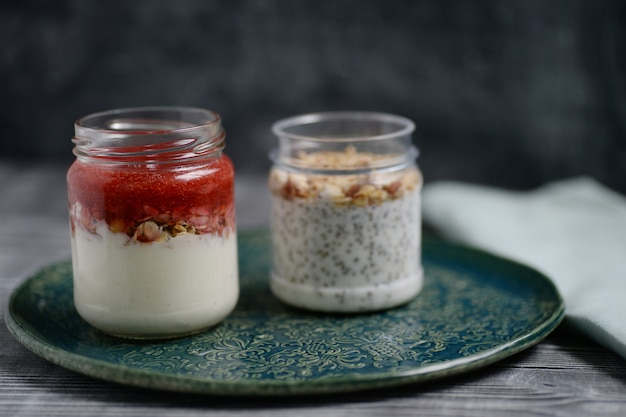 Yoghurt with nuts, seeds and jam