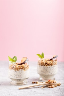 Yoghurt with plum, chia seeds and granola in a glass and wooden spoon. side view. background
