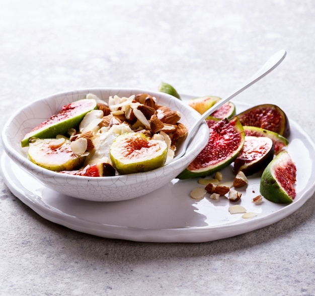 Yogurt greek with figs almond and mead. healthy food